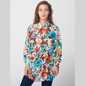 American Apparel Floral Button Down Shirt Blouse